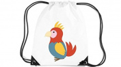 Children's Gym Sack Gymnastics Bag Motif Parrot - White, 35 x 44cm