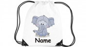 Children's Gym Sack Gymnastics Bag Motif Elephant with Custom Name - White, 35 x 44cm