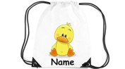Children's Gym Sack Gymnastics Bag Motif Duck with Custom Name - White, 35 x 44cm