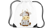 Children's Gym Sack Gymnastics Bag Motif Cow - White, 35 x 44cm