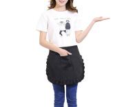 1xToruiwa Apron Women Lace Apron Smocks with Pockets for Kitchen Restaurant Coffee Shop Use Black