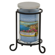 Yankee Candle Set of Pillar Candle Holder Stand Metal Holder for Small Medium or Large Pillar Candle Tumbler w/ Riviera Escape Scented Medium Pillar Jar for Fireplaces or Weddings