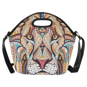 InterestPrint Head of the Lion Large Reusable Insulated Neoprene Lunch Tote Bag Cooler 38cm x 36cm x 17cm , Ethnic Boho Portable Lunchbox Handbag with Shoulder Strap