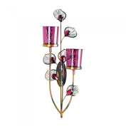 Pink Peacock Double Candle Wall Sconce