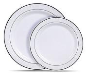 25 x Of Each 25cm & 18cm Sliver Rim Heavy Reusable Party Disposable Dining Plates