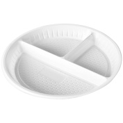 """Evelyn Living 50 x Plastic Plates 3 Compartment Disposable Party Catering Plate White 10"""" 26 cm"""
