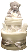 Grey Teddy Bear Baby Nappy Cake Unisex 2 Tier Design