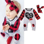Baby Clothes For 0-18 Months Kids, ✰ Xinantime Newborn Boys Girls Letter Print Plaid Romper Jumpsuit Outfits 2Pcs Set + 1PC Headbands