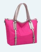 Waterproof Nylon Bag Ultra-Light Large Capacity Hit Colour Shoulder Messenger Mummy Bag , rose red
