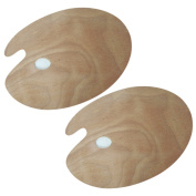 UOOOM 2 pcs Wooden Artist Palette Oval Durable Painting Palette