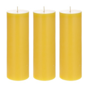 Mega Candles 3 pcs Citronella Round Pillar Candle | Hand Poured Wax Candles 7.6cm x 23cm | For Outdoor Camping BBQ Party Usage | Excellent in Repelling Insects and Bugs