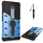 Moto X Play Case Blue,Huphant Tough Heavy Duty Shockproof Cover Dual Layer Armour with 360 Degree Rotate Kickstand 2 in 1 Hybrid Dual Layer Ultra Slim Thin Hard Protective Case Cover for Moto X Play + Black Retractable Dust Plug Stylus Pen