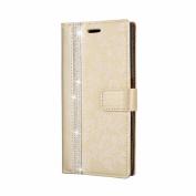 Sony Xperia XZ Case, COOSTOREEU Luxury Bling Glitter Diamond and Fresh Flower Pattern PU Leather Flip Wallet Case , Golden