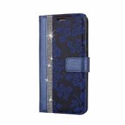 Huawei P9 Case, COOSTOREEU Luxury Bling Glitter Diamond and Fresh Flower Pattern PU Leather Flip Wallet Case , Blue