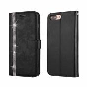 iPhone 7 Plus Case , iPhone 8 Plus Case , COOSTOREEU Luxury Bling Glitter Diamond and Fresh Flower Pattern PU Leather Flip Wallet Case , Black