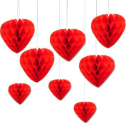 Happium - 5x Valentine's Day Red Hanging Honeycomb Tissue Paper Hearts
