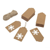 Shintop 100pcs Gift Tags Snowflake, Kraft Paper Tags Hang Labels with 30m Natural Jute Twine for Wedding, Festival, Luggage, Present