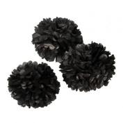 Black Tissue Paper Pompoms for Wedding & Party Decorations supplies- 20cm