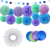DrCosy 214 Pcs Tissue Paper Pom Poms Banners Paper Flowers Lanterns Birthday Party Wedding Supplies Decoration