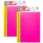 24x Sheets Of A4 Neon Card - Fluorescent Thick 200gsm Craft Card Stock