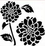 "Imagination Crafts STENCIL Mask template 6"" x 6"" (15cm) DAHLIA stem and flower head"