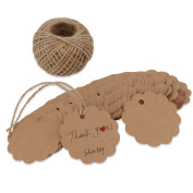 Shintop 100PCS Kraft Paper Gift Tags Bonbonniere Favour Round Gift Tags with Free 30m Natural Jute Twine