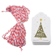 JuneJour 50Pcs Paper Christmas Gift Tags Hollow Label Hanging Tag Floral Printing Message Card for Wedding Birthday Favour Party with 9.8m Twines Christmas Tree