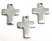 Three (3) Small Pewter Hammered Cross Charms