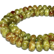 [ABCgems] Russian Peacock Serpentine (Olive Colour- Beautiful Matrix) 6mm Smooth Rondelle Beads