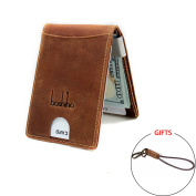 Boshiho Crazy Horse Leather Credit Card Holder ID Business Card Case Wallet with Money Clip Brown