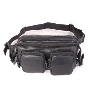MuLier Men's Genuine Leather Waist Pack Fanny Bag Hip Bum Bag