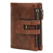 Superstar88 Men's Wallet, Minimalist Vintage Cowhide RFID Blocking Wallet With Double Zipper Pocket