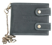 Very Dark Grey Nearly Black Biker's Leather Wallet Wild Tiger With Long Chain To Hang