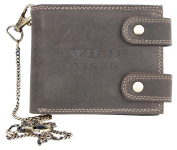 Brown Biker's Leather Wallet Wild Tiger With Long Chain To Hang