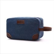 Yinew Vintage Water Resistance Canvas Unisex Toiletry Bag Portable Travel Wash Bag Cosmetic Makeup Bag Bathroom Bag ,Dark Blue