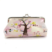 Women Lady Animal Print Retro Vintage Leather Small Wallet Cute Girl Long Hasp Purse Clutch Bag