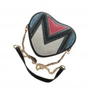 Small Crossbody Bags, Fashion Women Cute Heart Shaped Patchwork Shoulder Messenger Bag Chain Bag Purse Wallet