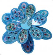 JinZhiCheng Blue Colour Double Peacock Sequins Decorative Assembly Windmill Educational Toys