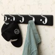Qiangzi 6-Decorative White Hooks On Antiqued Jumbo Wooden Board Coat Rack Hanger Bathroom Living Room