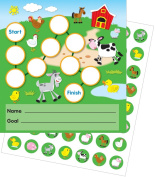 Potty Training Reward Chart with Stickers Set Farm Clean Colourful Stickers Children Baby Care
