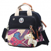 Quality Canvas Organiser Small Multi-function Tote Messenger Backpack Baby Nappy Changing Bag--Black