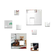 Masterein 8pcs/set Geometric Square Mirror Sticker DIY Acrylic Wall Mirrored Decals Removable Wallpaper silver