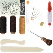 Bookbinding Tools Set Starter Tools Set Bone Folder Paper Creaser, Waxed Thread, Awl, Large-eye Needles, Sewing needles for Handmade Books Bookbinding, DIY Bookbinding Crafts and Sewing Supplies, 22Pieces