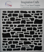 """Imagination Crafts Stencil Mask template 6"""" x 6"""" 15cm RUSTIC STONE WALL"""