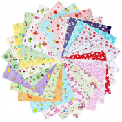 144 Sheets Craft Folding Origami Paper, sicai Washi Folding Paper 14*14cm 24 Different Colours and Patterns