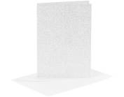 4 Silver Glitter A6 Cards and Envelopes - Card Making Crafts