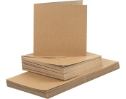 50 Natural 15cm Square Cards and Envelopes - Card Making Crafts