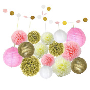 borte One Set 16 Pcs Party Decorations with Tissue Paper Pom Poms and Paper Lanterns and Paper String for Girls' Birthday Wedding Decoration