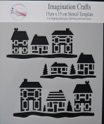 "Imagination Crafts Stencil Mask template 6"" x 6"" 15cm LITTLE HOUSES Christmas"