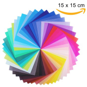 Origami Paper, Opret 100 Sheets 15 x 15cm / 6 x 6 in 50 Vivid Colours Single Sided Origami Paper for Arts and Crafts Projects